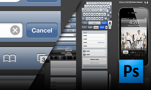 iPhone 4 GUI PSD Retina Display